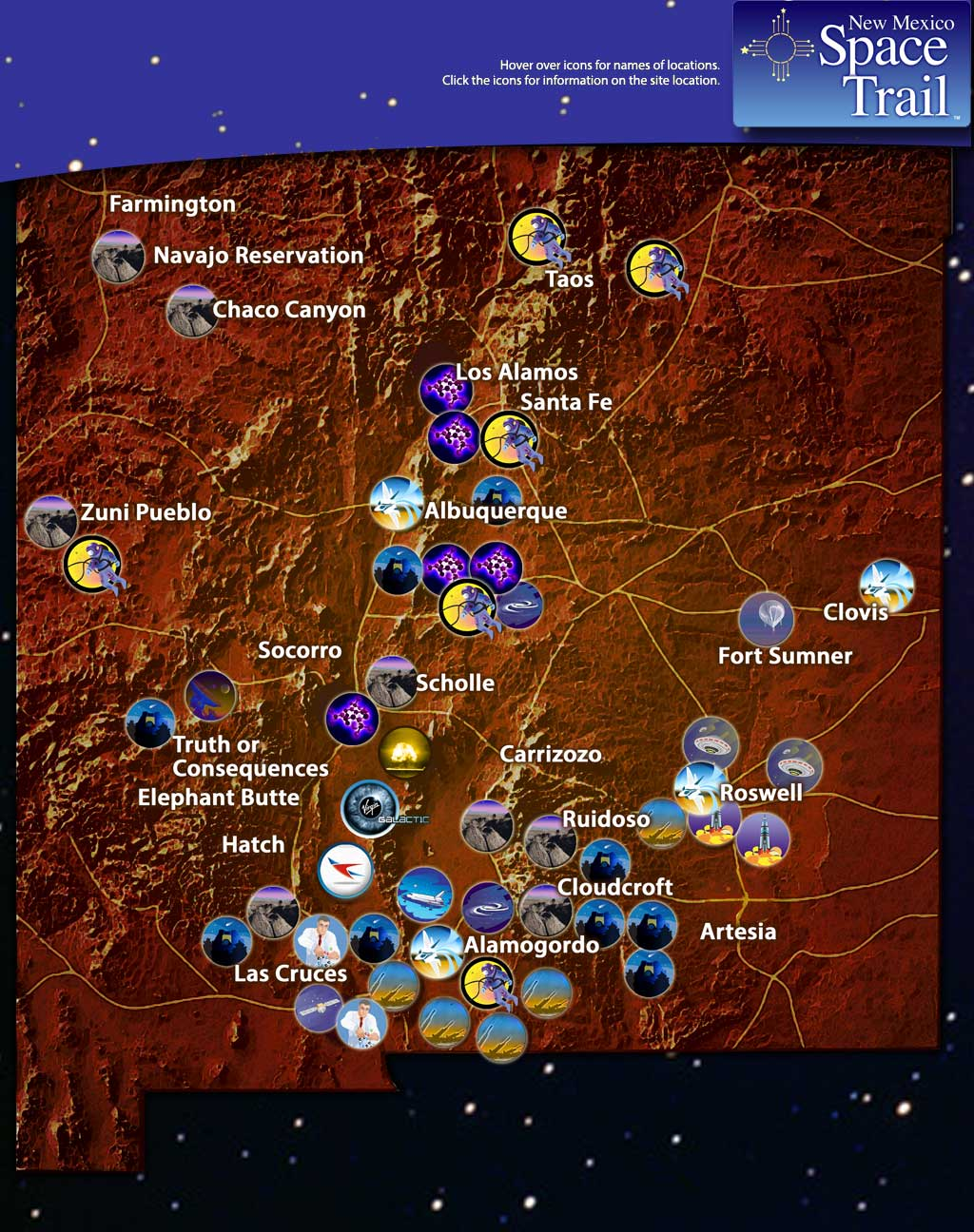 Space Trail Map - Interactive space map